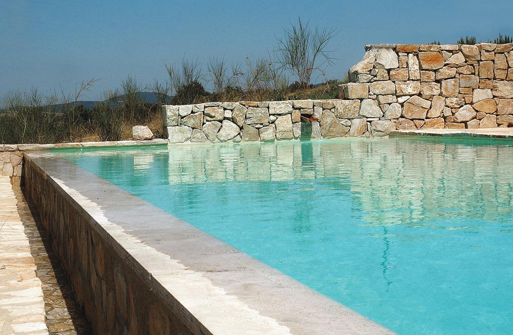 Dettaglio piscina a sfioro con dettagli in pietra MsPiscine